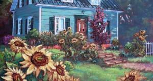 Joyeux tournesols,  36x30 po,   Disponible Galerie Guylaine Fournier Baie St-Paul